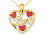 Heart Shaped LOVE Pendant Necklace in 14K Yellow Gold with Red Enamel Hearts